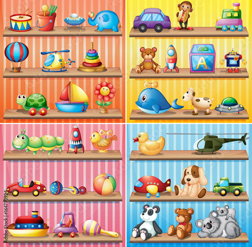 Foto op Canvas Kids Different types of toys on the shelves