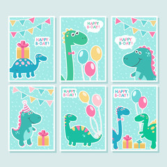 Cute vector cards set with dinosaurs, balloons. Funny smiling dinos, birthday greetings. Design background, element for children, babies. Colorful party invitation. Cartoon characters. Happy birthday © imaginasty