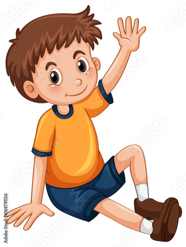 Foto op Canvas Kids Little boy having arm up for question
