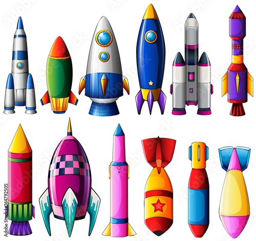Staande foto Kids Different designs for rockets