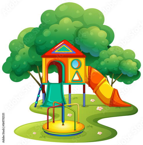 Foto op Canvas Kids Playground with slide and roundabout