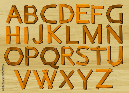 Foto op Canvas Kids Alphabet characters from A to Z in wooden pattern