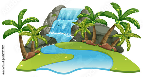 Foto op Canvas Kids Scene with waterfall and river