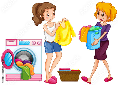 Staande foto Kids Two women doing laundry