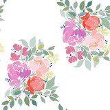 Seamless floral pattern with a bouquet of red, pink abstract flowers and green foliage.