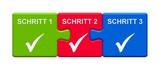 3 Puzzle Buttons zeigen Schritt 1, 2 und 3 - 164800767