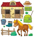 Horse and related objects theme set - 164802510