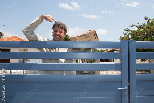 Happy professional shipping courier. Delivery postal service Poster