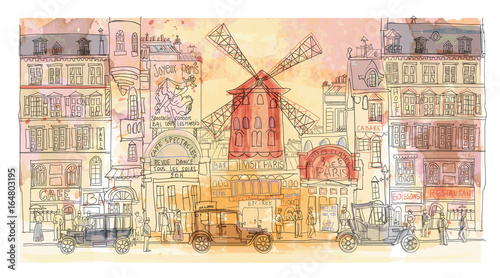 Deurstickers Art Studio Paris in watercolor, Moulin rouge