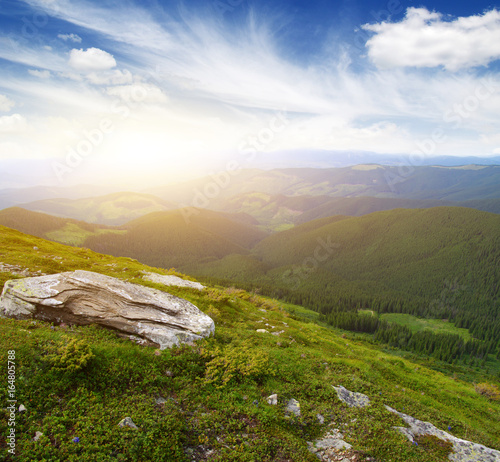 Mountain landscape on sun