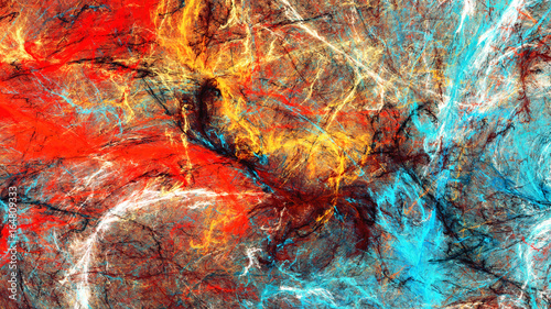 Zdjęcia na płótnie, fototapety na wymiar, obrazy na ścianę : Bright artistic splashes. Abstract painting color texture. Modern futuristic pattern. Multicolor dynamic background. Fractal artwork for creative graphic design