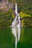 Fototapety Waterfall in Geiranger fjord - Norway