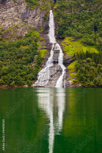 Waterfall in Geiranger fjord - Norway - 164818560