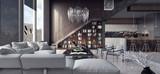 Living room, interior design 3D Rendering - 164824179