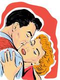 Pop Art romantyczna para, Pocałunek (rétro)