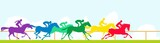 Race horses and colorful silhouettes - 164825955