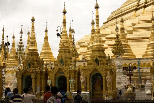 SHWEDADON PAGODA Main golden pagoda surrounded with small golden pagodas, Shwedagon pagoda, Myanmar Poster