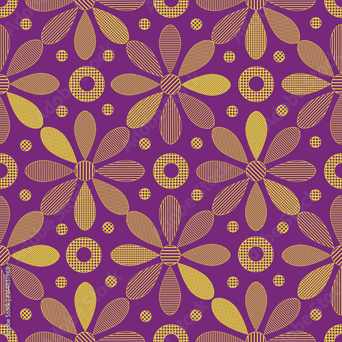 Seamless textures with ornamental yellow flowers on the violet background
