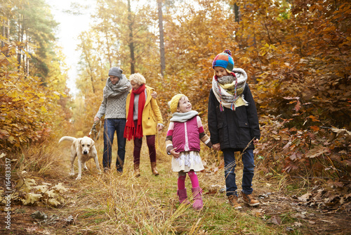 Family walk through forest path