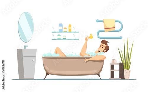 Man Taking Bath In Bathroom
