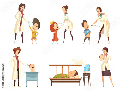 Ill Children Hospital Treatment Cartoon Set