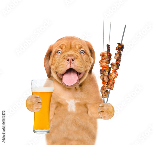 Puppy with beer and grilled meat on skewer. isolated on white background