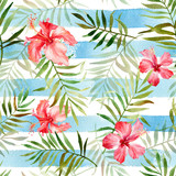 Seamless pattern with watercolor tropical flowers and leaves on striped background. Illustration can be used for gift wrapping, background of web pages, as a print for any printing products. - 164849705