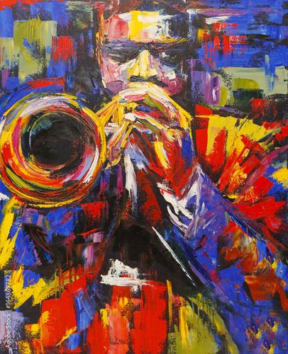 Ilustracja kolorowy jazz trąbkarz
