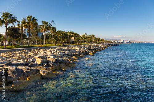 In de dag Cyprus Promenade street and pier in the city Limassol, begin of the summer season. Cyprus