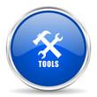 Tools blue glossy vector icon. Chrome border round web button. Silver metallic pushbutton.