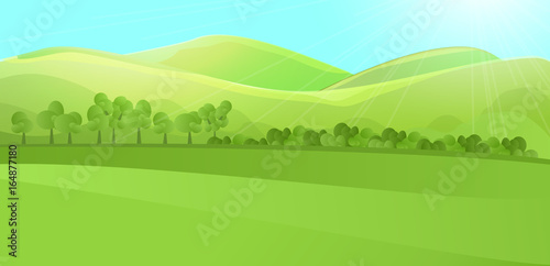 Clear horizontal landscape with green hill, mountains, grass and tree garden or forest. Colored cartoon vector illustration. Can be used for farm banner design