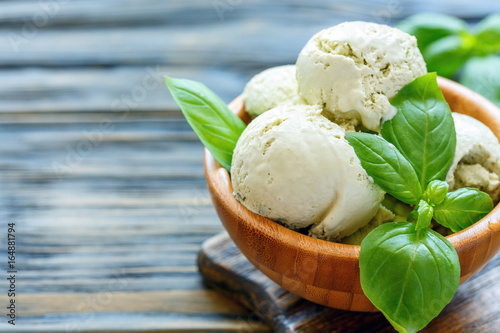 Homemade basil ice cream in a bowl.