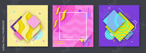 Foto op Aluminium Vintage Poster Abstract color posters set in trendy style with geometric shapes, triangle, lines, frame, fashion bright background, template for banner, cover, invitation, flyer, vector illustration