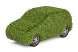 car from grass, 3D rendering