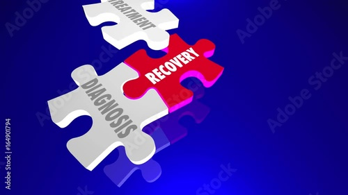 Recovery Diagnosis Treatment Support Therapy Puzzle Pieces 3d Animation