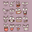 Cartoon faces with different expressions. Vector clip art illustration with simple gradients. Each on a separate layer. - 164904939
