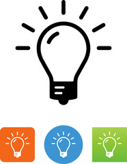 Bright Light Bulb Icon - Illustration