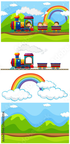 Scene with children on the train