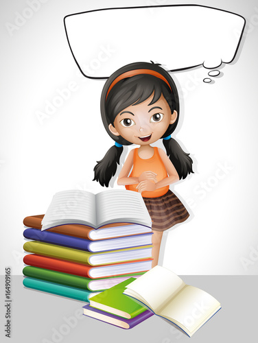 Staande foto Kids Speech bubble template with girl and books