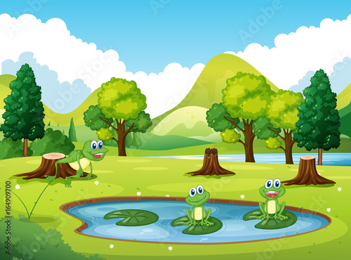 Park scene with three frogs in the pond