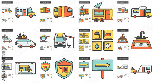 Tuinposter Op straat Travel and holiday line icon set.