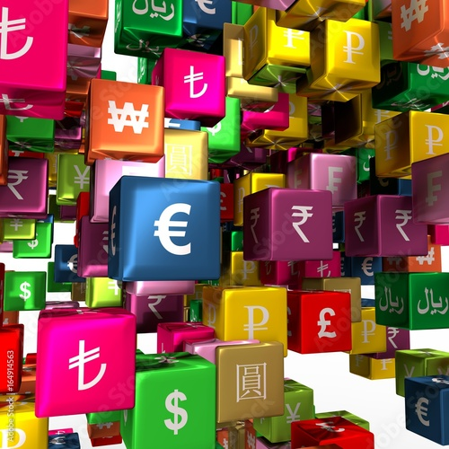 Currency symbols on vibrant multicolored plastic reflective cubes. Business concept. 3D rendering © JEGAS RA
