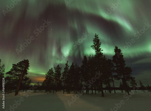 Foto op Canvas Khaki Night shot of northern lights in frozen winter country