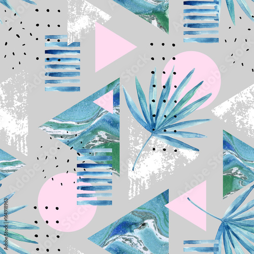 Abstract summer geometric background with exotic leaves - 164918963