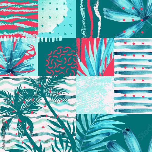 akwarela-tropikalne-liscie-wzor-lato