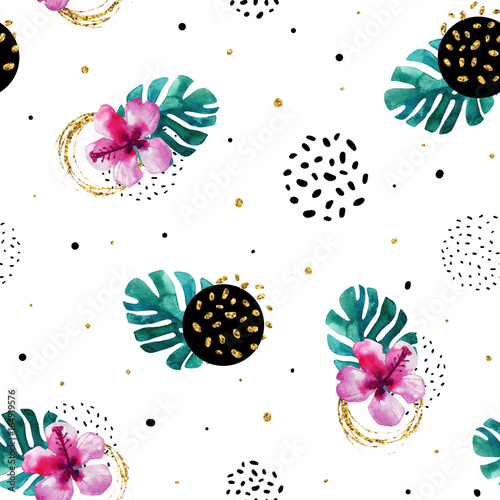 Watercolor exotic flowers and abstract texture circles background. - 164919576