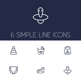 6 Child Outline Icons Set Of Rocking Horse Nipple Carriage And Other Elements Wall Sticker