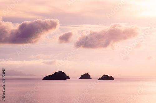 Sunset sky with small islands near Samui island, Thailand