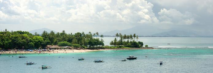 Panoramic view of a tropical beach Senggigi island Lombok. Indonesia