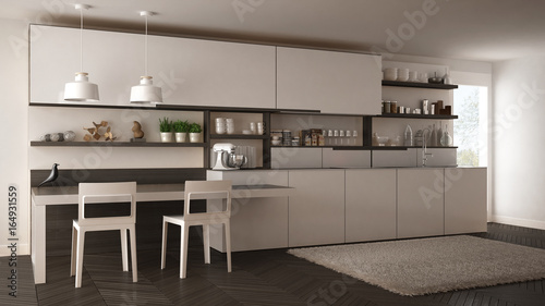 Minimalist modern kitchen with wooden details, table and chairs, white interior design
